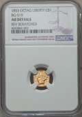 California Fractional Gold , 1853 $1 Liberty Octagonal 1 Dollar, BG-519, Low R.4, -- ReverseScratched -- NGC Details. AU. PCGS Popu...