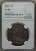 Early Half Dollars: , 1806 50C Pointed 6, Stem, VG10 NGC. NGC Census: (46/839). PCGSPopulation (63/1112). Mintage: 839,576. ...