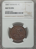 Coins of Hawaii , 1847 1C Hawaii Cent AU55 NGC. NGC Census: (43/217). PCGS Population(45/285). Mintage: 100,000. ...