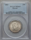 Coins of Hawaii , 1883 25C Hawaii Quarter MS64+ PCGS. PCGS Population (348/316 and10/13+). NGC Census: (235/279 and 6/1+). Mintage: 242,600....