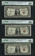 Small Size:World War II Emergency Notes, Fr. 2300 $1 1935A Hawaii Silver Certificates. Three Examples. PMG Gem Uncirculated 66 EPQ.. ... (Total: 3 notes)