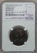 Colonials, 1787 Connecticut Copper, Mailed Bust Left -- Burnished -- NGC Details. VG. Ex: Rev. Dr. James G. K. McClure. NGC Census:...