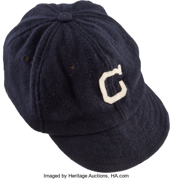 Baseball Collectibles:Uniforms, Circa 1920 Cleveland Indians Game Worn Cap....