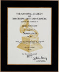 "Music Memorabilia:Awards, Linda Ronstadt -- A National Academy of Recording Arts and SciencesNomination Plaque for the Single ""Blue Bayou"" (1977)...."