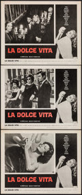 "Movie Posters:Foreign, La Dolce Vita (Astor, 1961). Lobby Cards (3) (11"" X 14""). Foreign.. ... (Total: 3 Items)"