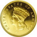 Proof Three Dollar Gold Pieces: , 1876 $3 PR65 Cameo PCGS. The 1876 proof-only three dollar gold hada paltry mintage of 45 pieces, with just 25-30 coins bel...