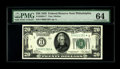 Fr. 2050-C* $20 1928 Federal Reserve Note. PMG Choice Uncirculated 64. All of these numbered district stars are quite sc...