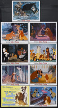 """Movie Posters:Animated, Lady and the Tramp (Buena Vista, R-1962). Lobby Card Set of 9 (11""""X 14""""). Animated Romance. Starring the voices of Peggy Le...(Total: 9 Item)"""