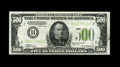 Fr. 2201-B $500 1934 Light Green Seal Federal Reserve Note. About Uncirculated. Embossing is seen on this $500 that has...