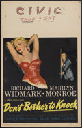 "Movie Posters:Thriller, Don't Bother to Knock (20th Century Fox, 1952). Window Card (14"" X22""). Thriller. Starring Richard Widmark, Marilyn Monroe,..."