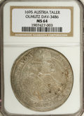 Austria: , Austria: Olmutz. Karl II Taler 1695, KM96, Davenport 3486, MS64 NGC, a stunning example of this scarce type with meticulously sharp d...