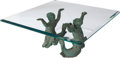Furniture , A Continental Verdigris Bronze Figural Coffee Table with Glass Top, 20th century. 19-1/4 h x 48 w x 48 d inches (48.9 x 121.... (Total: 2 Items)