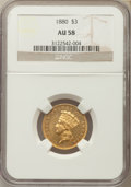 Three Dollar Gold Pieces: , 1880 $3 AU58 NGC. NGC Census: (8/87). PCGS Population (18/151). Mintage: 1,000. CDN Wsl. Price for problem free NGC/PCGS co...