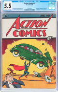 Golden Age (1938-1955):Superhero, Action Comics #1 (DC, 1938) CGC FN- 5.5 Cream to off-white pages....