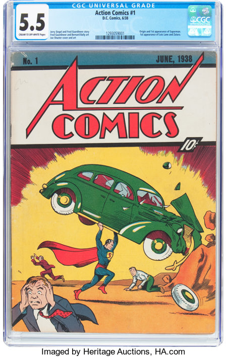 Action Comics #1 (DC, 1938) CGC FN- 5.5 Cream to off-white pages....