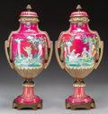 Ceramics & Porcelain, British:Modern  (1900 1949)  , A Pair of English Ceramic Urns with Bronze Mounts, circa 1910. 21-1/2 inches high (54.6 cm). ... (Total: 2 Items)