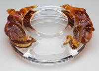 A Lalique Clear and Frosted Amber Glass Serpent Bowl, late 20th century Marks: