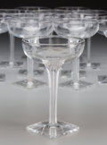 Art Glass:Steuben, Twelve Walter Dorwin Teague for Steuben Crystal Champagne Coupes,Corning, New York, circa 1932-1934. 5-5/8 inches high (14....(Total: 12 Items)