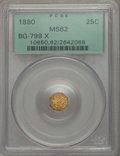 California Fractional Gold , 1880 25C Indian Octagonal 25 Cents, BG-799X, R.3, MS62 PCGS. PCGSPopulation (33/149). NGC Census: (5/30). ...