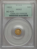 California Fractional Gold , 1853 50C Liberty Round 50 Cents, BG-429, Low R.4, MS62 PCGS. PCGSPopulation (42/9). NGC Census: (16/7). ...