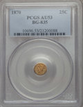 California Fractional Gold : , 1870 25C Liberty Round 25 Cents, BG-835, R.3, AU53 PCGS. PCGSPopulation (12/211). NGC Census: (1/50). ...