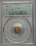 California Fractional Gold , 1874 50C Indian Round 50 Cents, BG-1055, High R.4, MS63 PCGS. PCGS Population (16/8). NGC Census: (1/2). ...