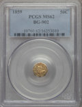 California Fractional Gold , 1859 50C Liberty Octagonal 50 Cents, BG-902, Low R.4, MS62 PCGS.PCGS Population (36/63). NGC Census: (2/20). ...