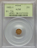 California Fractional Gold , 1865/4 25C Liberty Head Octagonal 25 Cents, BG-736, Low R.6, AU50PCGS. PCGS Population (3/18). NGC Census: (0/5). ...