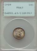 Barber Dimes: , 1909 10C MS63 PCGS. PCGS Population (98/154). NGC Census: (59/124). Mintage: 10,240,650. CDN Wsl. Price for problem free NG...