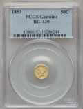 California Fractional Gold , 1853 50C Liberty Round 50 Cents, BG-430, R.3, -- Cleaning -- PCGSGenuine....