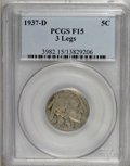 Buffalo Nickels, 1937-D 5C Three-Legged Fine 15 PCGS....