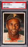 Baseball Cards:Singles (1950-1959), 1957 Topps Roberto Clemente #76 PSA Mint 9 - Only One Higher....