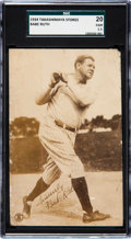 Baseball Cards:Singles (1930-1939), 1934 Takashimaya Department Stores Babe Ruth SGC 20 Fair 1.5....