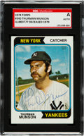 Baseball Cards:Singles (1970-Now), Signed 1974 Topps Thurman Munson #340 SGC Authentic. ...
