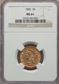 1885 $5 MS61 NGC. NGC Census: (318/748). PCGS Population (147/620). Mintage: 601,400. ...(PCGS# 8367)