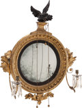 Furniture : American, An American Federal-Style Carved Giltwood Two-Light Convex Mirror,mid 19th century. 37 inches high x 29 inches wide (94.0 x...