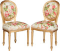 Furniture : French, A Pair of Louis XVI-Style Giltwood and Upholstered Side Chairs,19th century. 35 h x 19 w x 16-1/2 d inches (88.9 x 48.3 x 4...(Total: 2 Items)