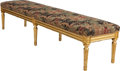 Furniture , A Louis XVI-Style Giltwood Bench with Chinoiserie Motif Upholstery, late 19th century. 15 h x 68 w x 16-1/2 d inches (38.1 x...