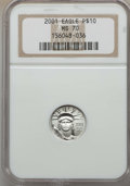 Modern Bullion Coins, 2001 $10 Tenth-Ounce Platinum Eagle MS70 NGC. NGC Census: (1082). PCGS Population (19). ...