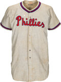Baseball Collectibles:Uniforms, 1949 Ken Trinkle Game Worn Philadelphia Phillies Jersey. ...