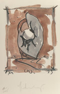 Fine Art - Work on Paper:Print, Claes Oldenburg (American, b. 1929). Study for StandingMitt, 1976. Offset Lithograph in colors. 37-1/4 x 24 inches(94....