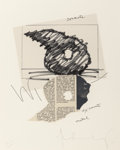 Prints, Claes Oldenburg (American, b. 1929). Study for sculpture in the form of an inverted Q: Above and below ground, 1975. Lit...