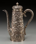 Silver Holloware, American:Coffee Pots, A Baltimore Silversmiths Mfg. Co. Silver Repoussé Coffee Pot, circa1905, Baltimore, Maryland. Marks: (B-eagle-S), STERLIN...