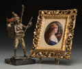 Decorative Arts, Continental:Other , An Austrian Bronze Musician with Painted Porcelain Portrait Plaque,late 19th-early 20th century. 10-7/8 inches high (27.6 c... (Total:2 Items)