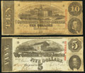 Confederate Notes:1863 Issues, T59 $10 1863 PF-19 Cr. 442. T60 $5 1863 PF-27 Cr. 464. ... (Total:2 items)