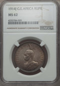 German East Africa, German East Africa: German Colony. Wilhelm II Rupie 1914-J MS62NGC,...
