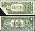 Error Notes:Foldovers, Fr. 1909-G $1 1977 Federal Reserve Note. Choice AboutUncirculated;. Fr. 1910-I $1 1977A Federal Reserve Note. ExtremelyFine.... (Total: 2 notes)