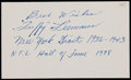 Football Collectibles:Others, Tuffy Leemans Signed Index Card....