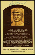 Baseball Collectibles:Photos, Lloyd Waner Signed Hall of Fame Plaque Postcard....