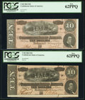 Confederate Notes:1864 Issues, T68 $10 1864 Two Examples. PF-42 Cr. 551 and PF-44 Cr. 552.. ... (Total: 2 notes)